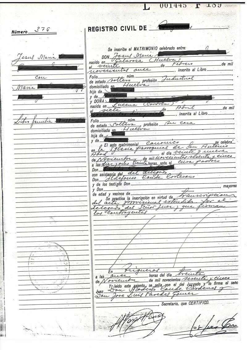 certificado literal de matrimonio