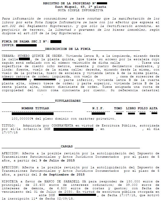 nota simple ejemplo registro propiedad